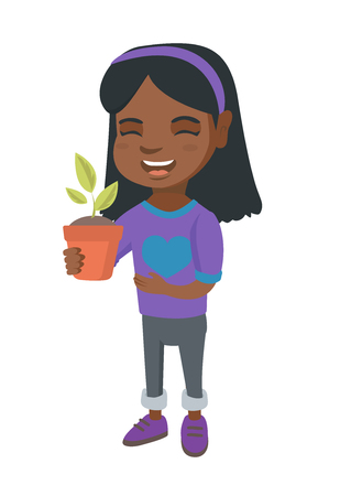 Smiling girl holding a potted plant in hand. Full length of happy girl laughing and holding a flower in a pot. Vector sketch cartoon illustration isolated on white background.