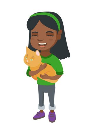 Happy girl holding a cat. Full length of cheerful little girl with a cat in her hands. Vector sketch cartoon illustration isolated on white background.