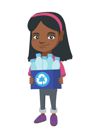 African girl holding recycling bin full of plastic bottles. Girl carrying recycling bin with plastic bottles. Plastic recycling concept. Vector sketch cartoon illustration isolated on white background Illustration