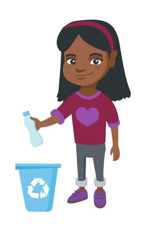 Eco-friendly african girl throwing plastic bottle in recycle bin. Full length of little girl throwing plastic waste in recycling bin. Vector sketch cartoon illustration isolated on white background.