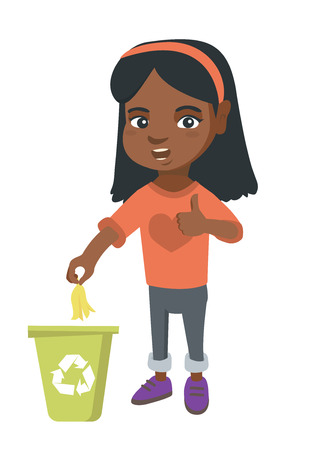 Little African girl throwing banana peel in recycling bin. Girl putting banana peel in bin with recycling sign and giving thumb up. Vector sketch cartoon illustration isolated on white background.