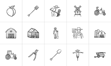 Agriculture sketch icon set for web, mobile and infographics. Hand drawn Agriculture vector icon set isolated on white background.