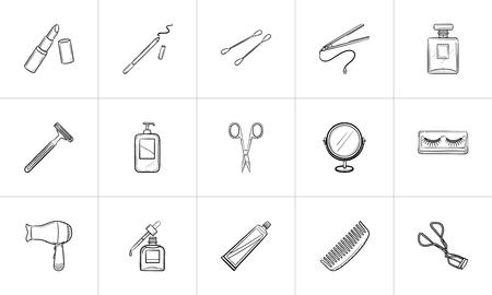 美容アクセサリースケッチアイコンは、ウェブ、モバイル、インフォグラフィック用に設定されています。手描きの美容アクセサリーベクトルアイ