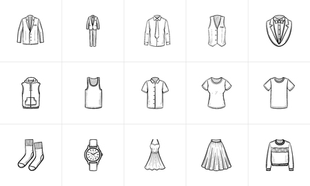 Clothing and accessory sketch icon set for web, mobile and infographics. Hand drawn Clothing and accessory vector icon set isolated on white background.