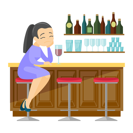 Depressed caucasian white woman sitting at the bar counter and drinking red wine. Young woman in depression sitting in the bar with wine. Vector cartoon illustration isolated on white background.