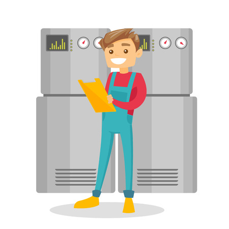 Young caucasian white technician taking some notes in his clipboard. Plumber inspecting heating system in boiler room. Vector cartoon illustration isolated on white background. Illustration
