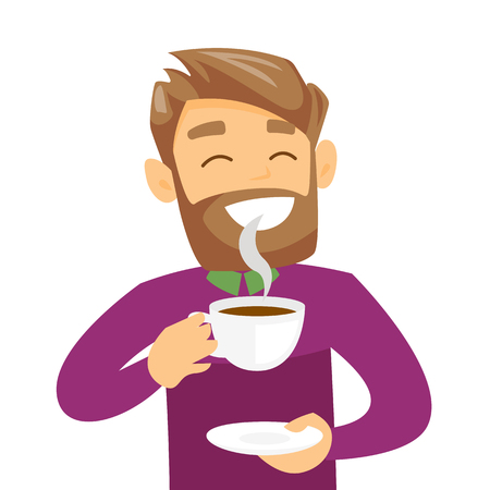 Pleased caucasian white man with closed eyes drinking hot flavored coffee. Young hipster man with beard holding a cup of coffee with steam. Vector cartoon illustration isolated on white background.