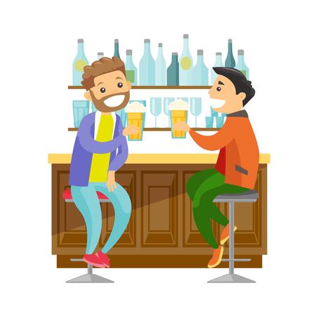Deux jeunes hommes de race blanche heureux, buvant de la bière au comptoir du bar. Banque d'images - 93445673