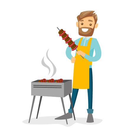 Young cheerful caucasian white hipster man with beard cooking shashlik with vegetables and meat on skewers on the barbecue grill outdoors. Vector cartoon illustration isolated on white background.