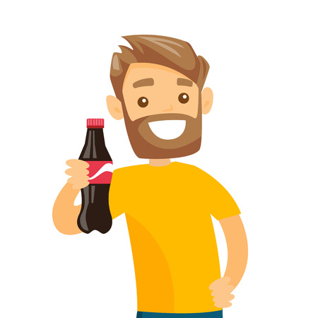 Young caucasian white hipster man with beard holding fresh soda beverage in a bottle. Cheerful man with soda in hand. Vector cartoon illustration isolated on white background. Illusztráció