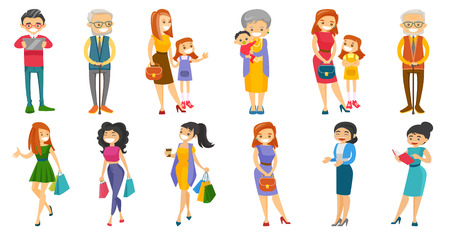Young and senior Caucasian white people set. Grandmother holding grandson, woman holding shopping bags, businessman using tablet. Set of vector cartoon illustrations isolated on white background. Illusztráció