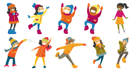 Multicultural children and adults set. People playing snowball fight, having fun in snow in winter and ice skating on ice skating rink. Set of vector cartoon illustrations isolated on white background