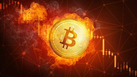 Golden bitcoin coin in fire flame is falling. Burning crypto currency bitcoin cash falling down, blockchain cryptocurrency market crash bubble burst concept. Illustration isolated on black background. Stock Illustration - 93683819