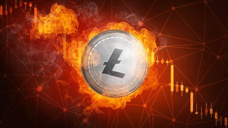 Golden Litecoin coin in fire flame is falling. Burning crypto currency Litecoin falling down, blockchain cryptocurrency market crash bubble burst concept with down chart.