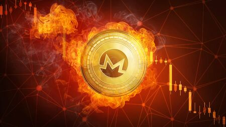 Golden Monero coin in fire flame is falling. Burning crypto currency Monero falling down, blockchain cryptocurrency market crash bubble burst concept with down chart. Stock Photo