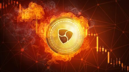 Golden NEM coin in fire flame is falling. Burning crypto currency NEM falling down, blockchain cryptocurrency market crash bubble burst concept with down chart. Stock Photo