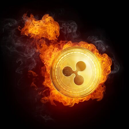 Golden Ripple coin in fire flame is falling. Burning crypto currency Ripple falling down, blockchain cryptocurrency market crash bubble burst concept. Illustration isolated on black background. Stock Photo