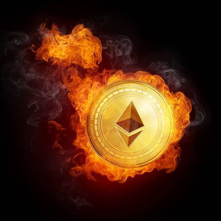 Golden Ethereum coin in fire flame is falling. Burning crypto currency Ethereum falling down, blockchain cryptocurrency market crash bubble burst concept. Illustration isolated on black background.