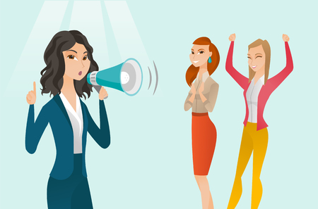 Young caucasian white woman shouting into a megaphone at feminist protest action. Concept of feminism, feminist movement, protest, meeting, woman rights. Vector cartoon illustration. Horizontal layout