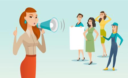 Jeune femme blanche de race blanche criant dans un haut-parleur lors d'une manifestation féministe dans une foule de femmes - une femme avec une affiche, une femme enceinte, une travailleuse en salopette. Illustration de dessin animé de vecteur