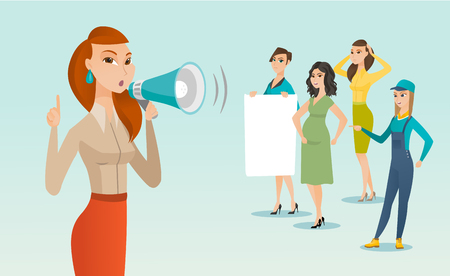 Young caucasian white woman shouting into a loudspeaker at a feminist protest action in a crowd of women - woman with a poster, pregnant woman, female worker in overalls. Vector cartoon illustration.
