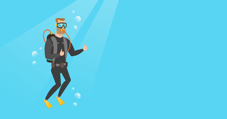 Young Caucasian white man in diving suit swimming underwater with scuba and showing thumb up. Happy scuba diver giving thumb up. Man enjoying the dive. Vector cartoon illustration. Horizontal layout. Illustration
