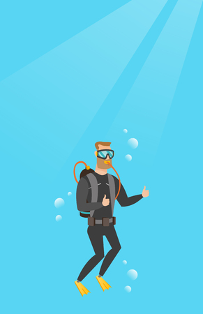 Young caucasian white man in diving suit swimming underwater with scuba and showing thumb up. Happy scuba diver giving thumb up. Man enjoying the dive. Vector cartoon illustration. Vertical layout.