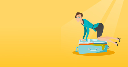 Young caucasian white woman sitting on a suitcase and trying to close it. Frustrated woman having problems with packing a lot of clothes into a suitcase. Vector cartoon illustration. Horizontal layout Çizim