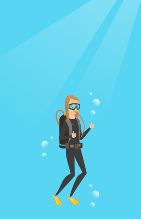 Young caucasian white woman in diving suit swimming underwater with scuba and showing thumb up. Scuba diver giving thumb up. Woman enjoying the dive. Vector cartoon illustration. Vertical layout.