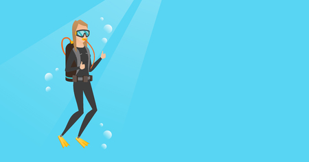 Young caucasian white woman in diving suit swimming underwater with scuba and showing thumb up. Scuba diver giving thumb up. Woman enjoying the dive. Vector cartoon illustration. Horizontal layout. Vectores
