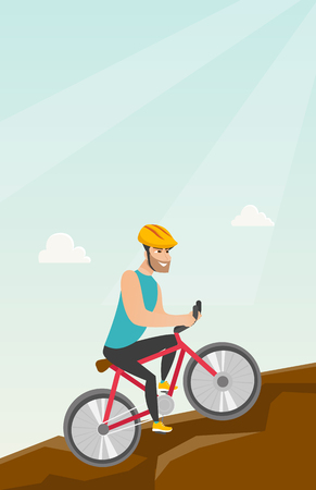 Young happy caucasian white traveler man in helmet riding a mountain bike in the mountains. Vector cartoon illustration. Vertical layout. Ilustrace