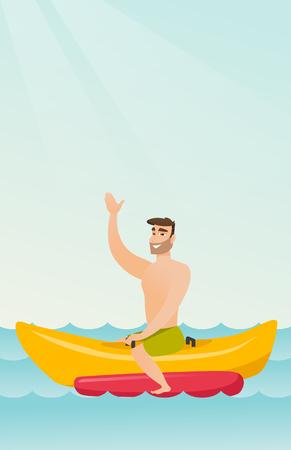 Young happy caucasian white man riding a banana boat and waving hand. Cheerful man having fun on a banana boat in the sea. Man enjoying summer vacation. Vector cartoon illustration. Vertical layout.