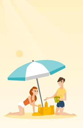 Cheerful caucasian women making a sand castle on the beach under beach umbrella. Smiling friends building a sandcastle. Tourism and beach holiday concept. Vector cartoon illustration. Vertical layout. Illustration