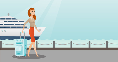 Young caucasian white passenger walking on the background of cruise liner. Happy passenger with a suitcase goes to a cruise liner along the station. Vector cartoon illustration. Horizontal layout.