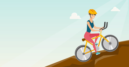 Young happy caucasian white traveler woman in helmet riding a mountain bike in the mountains. Vector cartoon illustration. Horizontal layout.