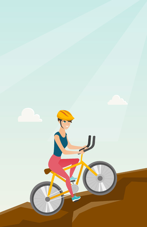 Young happy caucasian white traveler woman in helmet riding a mountain bike in the mountains. Vector cartoon illustration. Vertical layout. Ilustrace
