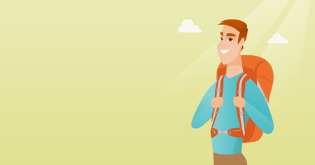 Young caucasian white traveler man standing with a backpack and enjoying his recreation time. Happy smiling man during summer trip. Vector cartoon illustration. Horizontal layout. Illustration