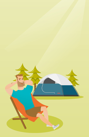 Young Caucasian white man sitting in a chair on the background of camping with a tent. Satisfied man relaxing and enjoying his vacation in the camping. Vector cartoon illustration. Vertical layout.