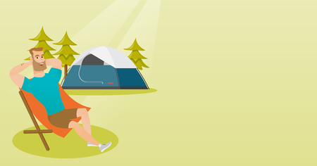 Young caucasian white man sitting in a folding chair on the background of camping with a tent. Satisfied man enjoying his vacation in the camping. Vector cartoon illustration. Horizontal layout.
