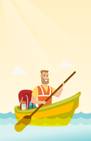 Young Caucasian white traveler man riding a kayak on the river. Cheerful traveler man traveling by kayak. Concept of travel and tourism. Vector cartoon illustration. Vertical layout.