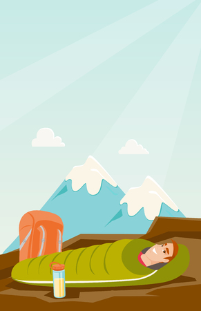 Young caucasian white man sleeping in a sleeping bag during a hike in the mountains. Smiling man laying on the ground wrapped up in a mummy sleeping bag. Vector cartoon illustration. Vertical layout.  イラスト・ベクター素材