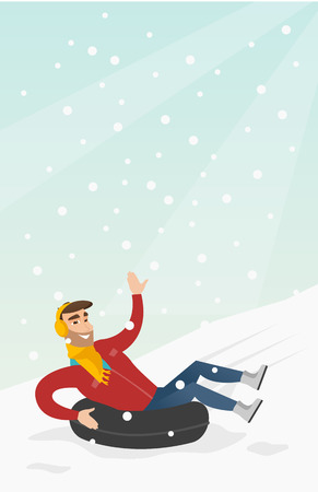 Young joyful caucasian white man sledding on snow rubber tube and waving hand. Winter leisure activity concept. Vector cartoon illustration. Vertical layout. Vectores