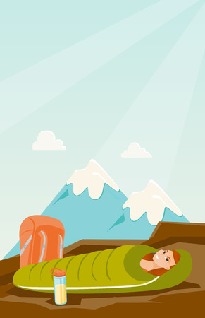 Young Caucasian white woman sleeping in a sleeping bag during a hike in the mountains. Happy woman laying on the ground wrapped up in a mummy sleeping bag. Vector cartoon illustration.