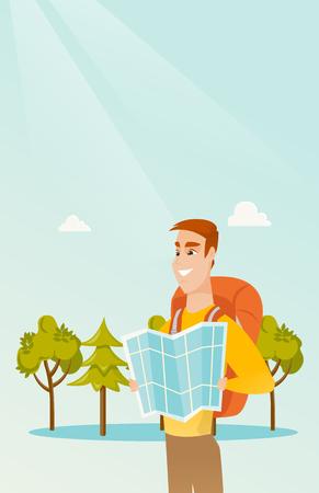 jeune voyageur de voyageur blanc blanche avec un sac à dos en regardant loin . vue vectorielle de l & # 39 ; homme heureux regardant la direction droite sur une vue vectorielle. verticale de mode. composition verticale