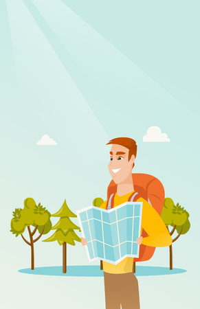 Young caucasian white traveler man with a backpack looking at map. Full length of smiling traveler man searching right direction on a map. Vector cartoon illustration. Vertical layout.