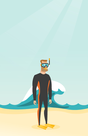 Young caucasian white scuba diver in diving suit, flippers, mask and tube standing on the background of wave. Full length of scuba diver on the beach. Vector cartoon illustration. Vertical layout.