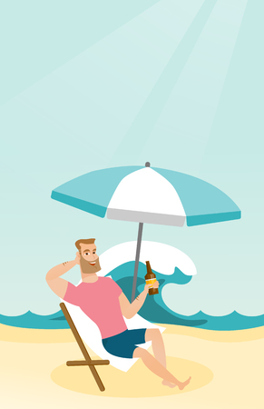 Young caucasian white man sitting on a chaise-longue on the beach. Happy smiling man relaxing on a chaise-longue and drinking beer. Vector cartoon illustration. Vertical layout.