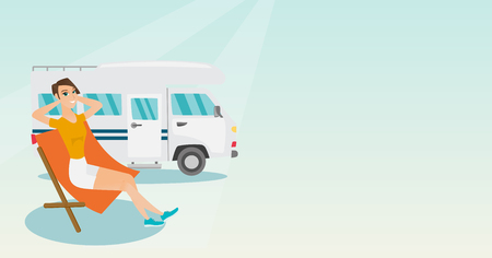 Young caucasian white woman sitting in a folding chair and giving thumb up on the background of camper van. Happy woman enjoying vacation in camper van. Vector cartoon illustration. Horizontal layout.