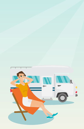 Young caucasian white woman sitting in a folding chair and giving thumb up on the background of camper van. Happy woman enjoying vacation in a camper van. Vector cartoon illustration. Vertical layout. Vectores