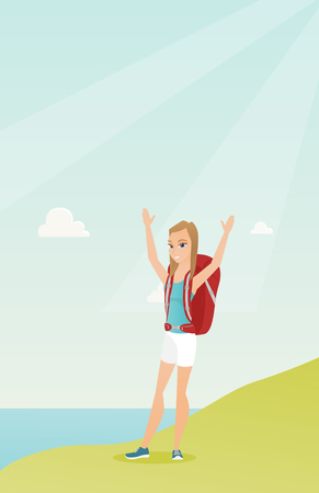 Young Caucasian white tourist with a backpack standing on the cliff with raised hands and enjoying the scenery. Happy tourist hiking in the mountains. Vector cartoon illustration. Vertical layout.